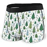 Men 'S Atmungsaktive Unterwäsche Winter Forest Trees Pattern A Woodland Background Bequeme Boxershorts Größe XL