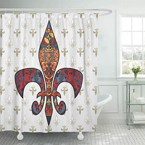 Onete Shower Curtain Fleur De Lis Bathroom Curtain Flower Vintage Style Fall Curtains Boho Waterproof Polyester Fabric 72 X 78 Inches Set with Hooks