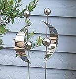 Design Gartenstecker 2er Set Edelstahl mit Kugel Kugeln Halbkreis / Kreis Metall Gartendeko Beetstecker Topstecker Gartenstab