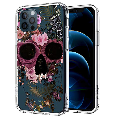 MOSNOVO Floral Skull Flower Pattern Designed for iPhone 12 Case 6.1 Inch/Designed for iPhone 12 Pro Case 6.1 Inch,Clear Case with Design,TPU Bumper with Protective Hard Case Cover