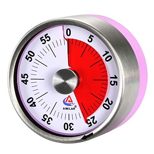 AIMILAR - Temporizador de cocina mecánico pequeño – 60 minutos de cuenta regresiva visual, magnético con alarma fuerte para niños y adultos morado