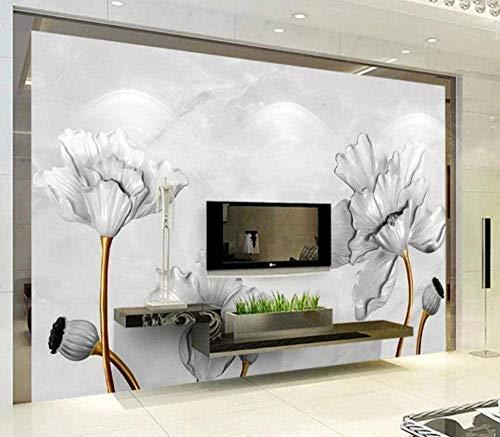 Tapete Plakat Wandbilder Tapete Klassisches Relief Marmor Lotus Wandbild 3D Wandvlies Wanddekoration-300cmx210cm(LxH)