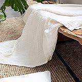 Throw Blanket 100% Organic Hemp White Reversible Lightweight Breathable Blanket 51'x67'(130x170cm)