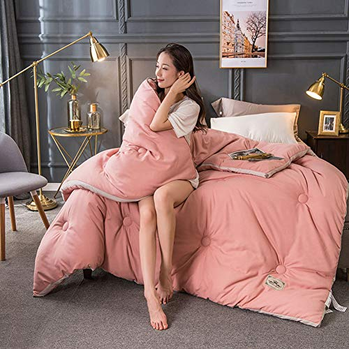 QINYA Premium Bettdecke Flauschige, Weiche & Warme Decke   Ideal für Allergiker   Waschmaschinenfest   Mikrofaser Bezug Bettdecken (Pink,150 * 200cm 2kg)