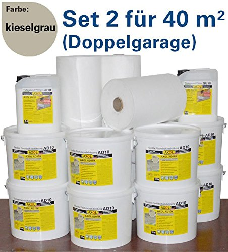 Flachdachabdichtung für 40 qm (Doppelgarage) Flachdach mit Flüssigkunststoff schnell und einfach selber abdichten ergibt eine nahtlose Dachhaut kieselgrau
