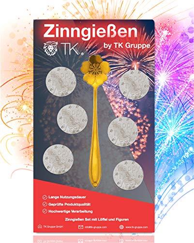 TK Gruppe Timo Klingler 7-Teilig Zinngießen Zinn Giessen - Alternative zu Bleigießen mit 6 Figuren & Löffel & Orakelheft - Partyspiele 2021 Silvester Neujahr (1x)
