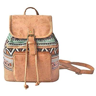 Amoyie Sacs à main portés dos femme en cuir et toile, sacs à dos loisir petite, sac vintage pour voyage travail