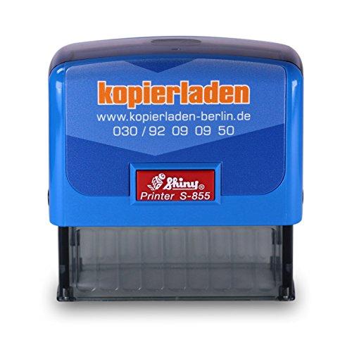 Stempel mit individuellem Wunschtext, Shiny S-855, 25 x 70 mm für bis zu 6 Zeilen – Selbstfärbender Firmen-, Büro- oder Adressstempel, Stempelautomat