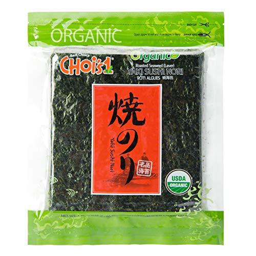 Organic Daechun(Choi's1) Sushi Nori (50 Full Sheets), Resealable, Gold Grade, Product of Korea