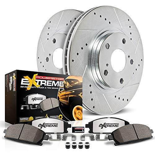 Power Stop K2163-36 Front Z36 Truck & Tow Brake Kit, Carbon Fiber Ceramic Brake Pads and Drilled/Slotted Brake Rotors