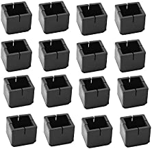 Antrader 16pcs Black Silicone Furniture Pads Square Shape Floor Protector Chair Sofa Non-Slip Feet Pad Leg Cap with Felt Pads Fit 1-1/8 to 1-3/8