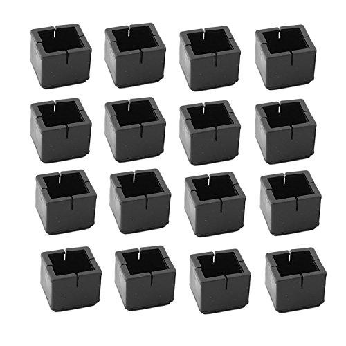 Antrader 16pcs Black Silicone Furniture Pads Square Shape Floor Protector Chair Sofa Non-Slip Feet Pad Leg Cap with Felt Pads Fit 1-1/8 to 1-3/8' (3.1-3.6cm)