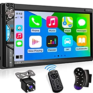 Double Din Digital Media Car Stereo – Apple CarPlay Receiver with Bluetooth, Phone Mirroring, 7″ Touchscreen Display, 16-Band EQ, AM/FM Radio Tuner, HD Rearview Camera, USB/SD, Aux-in, Phone Charge
