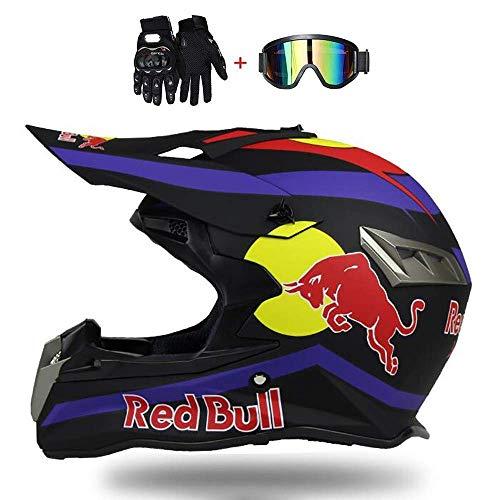 WAH Helme Motocross Helme Helme Moto Modular Gehäuse Zertifizierung Dot Lock-Belüftungsöffnungen Mehrere Schnell Futter Abnehmbare Senden Brille Handschuhe Red Bull,A,M