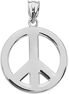 Sterling Silver Circle Of Peace Sign Symbol Charm Pendant