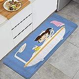 WOTAKA Alfombra de Cocina,Bañera de Pato Que Cambia de Color Azul,Alfombrilla de Cocina Antideslizante Gruesa(45*120cm