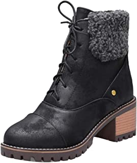 TAOFFEN Vintage Women Lace Up Martin Boots with Mid Heels Platfrom