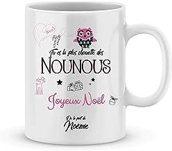 Mug Joyeux Noël NOUNOU à personnaliser avec votre prénom - Cadeau personnalisé pour la nounou de votre enfant à Noël - Cad...