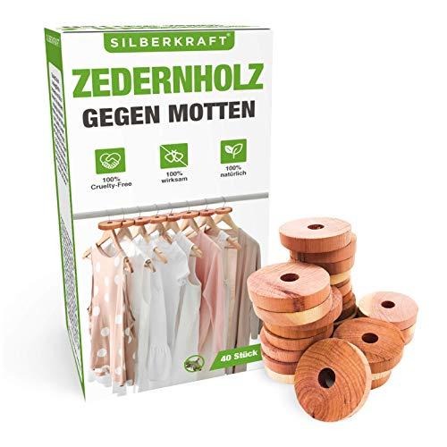 Silberkraft Zedernholz 40x Mottenschutz Set - Mottenringe gegen Motten in Kleiderschrank und Küche - 100% natürliche Mottenabwehr - chemiefreie und Wiederverwendbare Mottenfalle