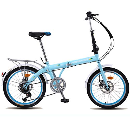 Hmvlw Bicicletas de montaña 20-Pulgadas Plegable Velocidad de Bicicletas - Ciudad de cercanías portátil Coche Hombres Mujeres, Azul