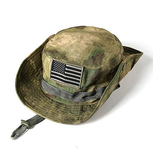 Military Tactical Head Wear/Boonie Hat Cap with USA Patch for Wargame,Sports,Fishing &Outdoor Activties Multicam Green