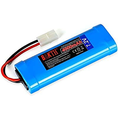 BAKTH High Capacity Security 7.2V 4000mAh Rechargeable Low Self Discharge NiMH Battery Pack for RC / Remote Control Car, Robots + Customized Coaster