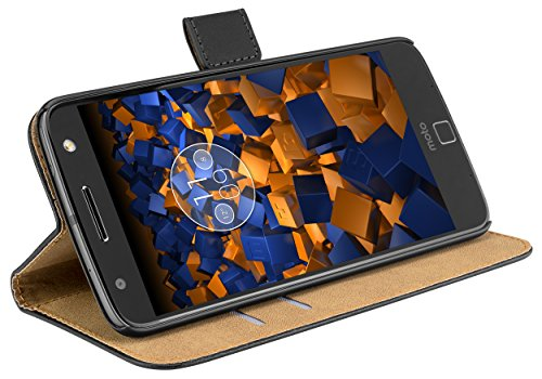mumbi Tasche Bookstyle Case kompatibel mit Motorola Moto Z Hülle Handytasche Case Wallet, schwarz