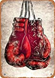 Fanzi Vintage Look Metal Sign - Fighter Poster Boxing Gloves - 8'X12' Tin Plate Wall Decor