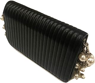 Black Day to Night Handbag with Silver Tone Hardware, Crystals and Dangling Faux Pearls