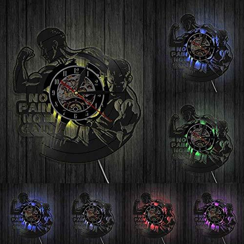 No Pain No Gain - Reloj de pared con cita para garaje, gimnasio, decoración de pared para culturistas