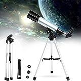 ALLWIN Telescopio para Niños Adultos Principiantes En Astronomía,Telescopio Viaje Refractor Astronómico Portátil 50Mm Apertura 360Mm,con Trípode Y Visor De Buscador,para Ver Las Estrellas La Luna