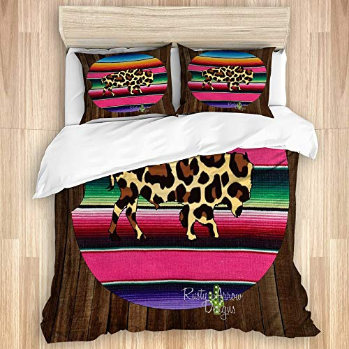 VAMIX Duvet Cover Set,Cheetah Buffalo,Quilt Cover with Zipper Closure Soft Microfiber Bedding Set Single Size 135x200cm