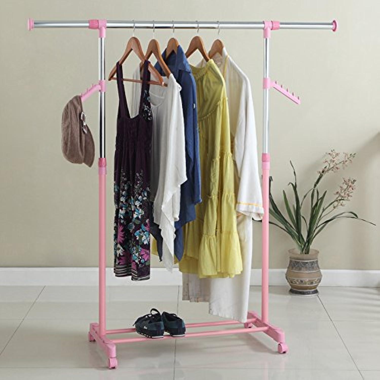Single Rod Racks can be Bold Coat Telescopic Riser Wall Balcony Indoor Drying Rack Hanger,Pink
