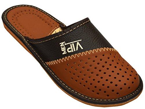 Pantoufles en cuir pour homme_ VIP - - marron, 42 EU