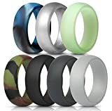 ThunderFit Mens Silicone Wedding Rings Wedding Bands - 7 Pack (Black, Dark Grey, Camo, Navy Blue, Silver, Glow in The Dark, Blue Camo,...