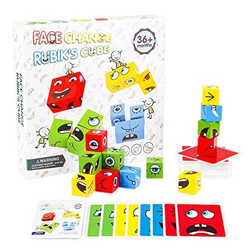 Hihamer Cube Jouets Montessori en Bois , Puzzle Assorti Emoji Bois, Cubes De Construction Cubes De Puzzle GéoméTrique Drôle Emoji, Jeu Dassociation Jouets Formation Pensée Logique