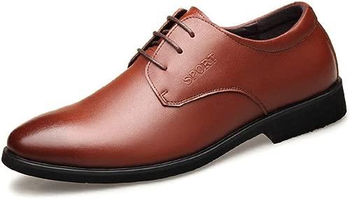 YEEWEN Handgemacht Herren Classic Business Oxford Kleid Schuhe schnüren Echtes Leder Flache Ferse Leichte Anti-Rutsch-Runde Kappe Abendschuhe (Farbe   Braun, Größe   46 EU)