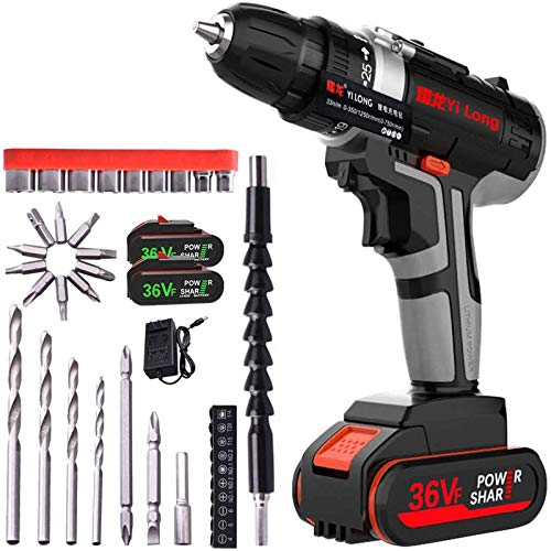 Atralife 36V MAX Cordless Drill kit, Power Drill Set with 3/8 inches Keyless Chuck and 2-Speed Motor(2 Lithium-ion Battery,Charger,and Accessories)