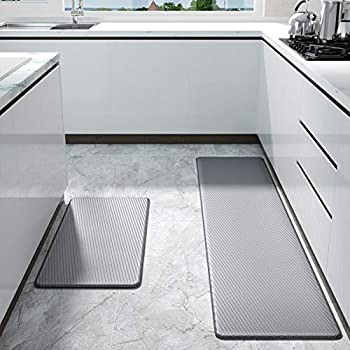 Color&Geometry Kitchen Rug Non Skid Waterproof Kitchen mats Cushioned Anti Fatigue Standing Mat 30 X18 +59 X18  Grey