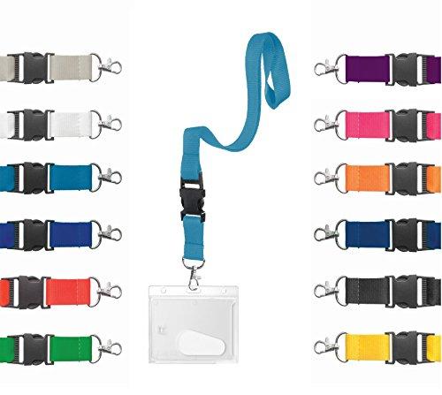 Preisvergleich Produktbild Karteo® Ausweishülle Hartplastik mit Schlüsselband hellblau / Kartenhülle horizontal mit Karabiner Band
