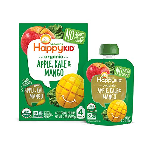 Happy Kid Organic Superfoods Twist Apple Kale Mango, 3.17 Ounce Pouch (Pack of 16) (Pack May Vary) Baby Toddler Kid Snack, Resealable, No Added Sugar Non-GMO Kosher (Packaging May Vary)