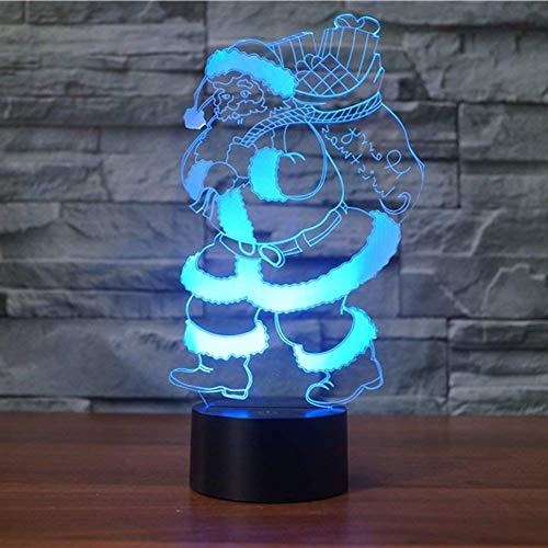 Kreative 3D Weihnachtsmann Nacht Licht 7 Farben Andern Sich USB Adapter Touch Schalter Dekor Lampe Optische Täuschung Lampe LED Lampe Tisch Kinder Brithday Weihnachten Geschenke