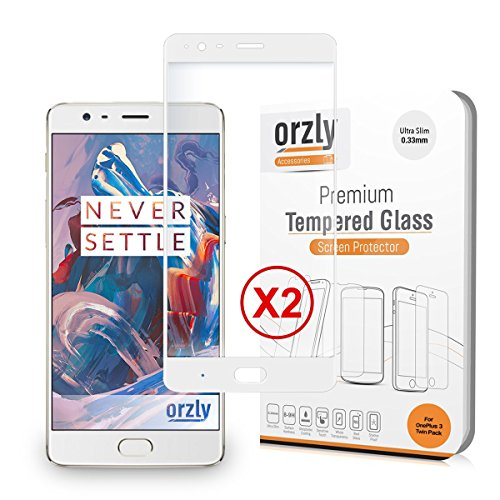 Orzly Protectores de Pantalla OnePlus 3T / OnePlus 3, Duo-Pack 2.5D Pro-Fit V2 Protector de Pantalla de Prima de Cristal Templado para el OnePlus3 y OnePlus3T - Transparente con Borde en Blanco