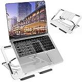 """TECOOL Supporto PC Portatile, Pieghevole Supporto per Laptop 5 Altezza Regolabile Ventilato Laptop Stand in Alluminio per MacBook PRO, Air, Tutti i Tablet/Notebook da 9,7""""~ 16"""" (Argento)"""