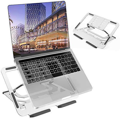 TECOOL Supporto PC Portatile, Pieghevole Supporto per Laptop 5 Altezza Regolabile Ventilato Laptop Stand in Alluminio per MacBook PRO, Air, Tutti i Tablet Notebook da 9,7 ~ 16  (Argento)