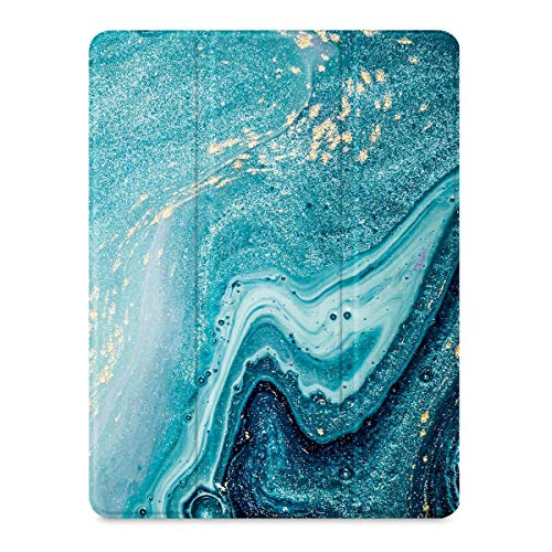 """SaharaCase Folio Series Case for iPad Pro 12.9"""" (4th Gen 2020) [Shockproof Bumper] Rugged Protection Antislip Grip Leather Kickstand - Green Marble"""