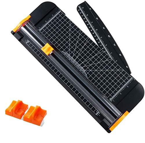 TIANSE A4 Papierschneider Titanium Papier Trimmer Scrapbooking-Werkzeug mit automatischer Sicherheit zu schützen und Seitenlineal für das Handpapier, 2 Stück Blades (schwarz) MEHRWEG