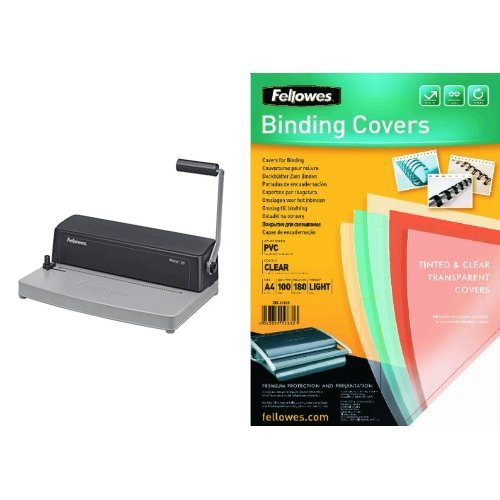 Fellowes - Pack encuadernadora manual de espiral metálico + 100 unidades portadas de encuadernación A4