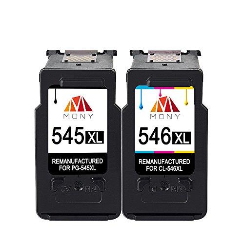 Mony Remanufacturado Cartuchos de Tinta Canon PG 545 Cl 546 XL (1 Negro, 1 Tricolor) Compatible con Canon Pixma MG2950 MG2550 MX495 IP2850 MG2450 MG2550s MG3050 IP2800 MG2400 Impresoras