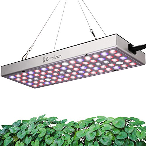Brite Labs LED Grow Lights for Indoor Plants Full Spectrum, Hanging Plant Light for Seed Starting and Seedlings, 25W Growing Lamps with 75 Red Blue UV IR White Bulbs, Greenhouse Supplies Accessories